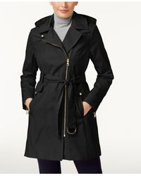 Vince Camuto | Black Asymmetrical Trench Coat | Lyst