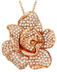 Effy Collection | Metallic Diamond Flower Pendant Necklace In 14k Rose Gold (1/3 Ct. T.w.) | Lyst