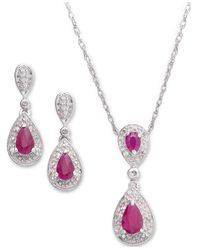 Macy's | Metallic Sterling Silver Sapphire (1-3/8 Ct. T.w.) And Diamond (1/10 Ct. T.w.) Pendant And Earrings Set | Lyst