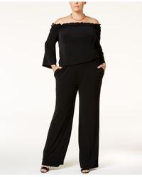 INC International Concepts | Black Plus Size Off-the-shoulder Jumpsuit | Lyst