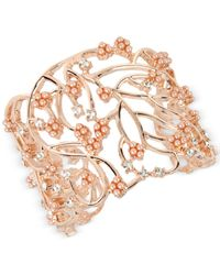 INC International Concepts | Metallic Imitation Pearl Cluster Openwork Cuff Bracelet | Lyst