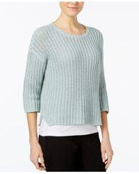 Eileen Fisher   Blue Three-quarter-sleeve Crew-neck Sweater   Lyst