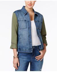 Style & Co. | Blue Mixed-media Denim Jacket | Lyst