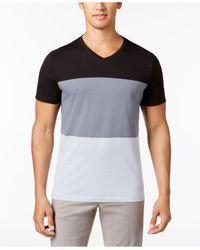 Alfani | Black Men's V-neck Colorblocked T-shirt for Men | Lyst