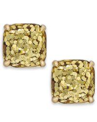 kate spade new york | Metallic Gold-tone Small Square Stud Earrings | Lyst