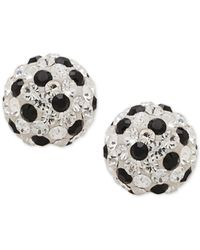 Macy's | Metallic Clear And Black Crystal Fireball Stud Earrings In 14k White Gold | Lyst