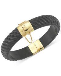 Macy's | Black Dyed Jadeite Bangle Bracelet In 14k Gold Over Sterling Silver | Lyst