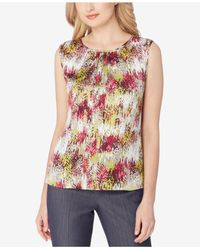 Tahari | Multicolor Petite Round Neck Sleeveless Printed Charmeuse Blouse | Lyst