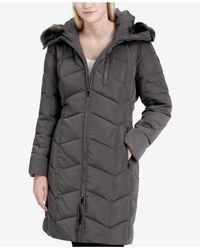 Calvin Klein - Gray Petite Faux-fur-trim Puffer Coat - Lyst