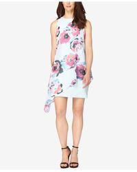 Tahari | Blue Floral-print Chiffon Overlay Dress | Lyst