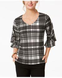 Charter Club - Black Petite Plaid Ruffle-sleeve Top, Created For Macy's - Lyst