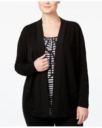 Anne Klein   Black Plus Size Open-front Cardigan   Lyst