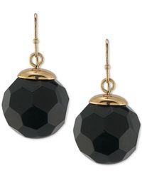 Trina Turk | Metallic Gold-tone Jet Faceted Round Bead Drop Earrings | Lyst