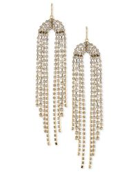 Trina Turk | Metallic Gold-tone Crystal Fringe Chandelier Earrings | Lyst