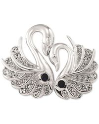 Carolee | Metallic Silver-tone Crystal Double Swan Pin | Lyst