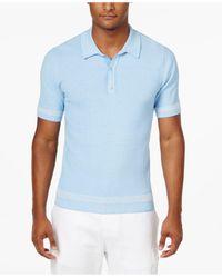 Sean John | Blue Men's Tweed Sweater Polo for Men | Lyst