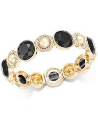 Charter Club | Black Gold-tone Pavé Colored Stone Stretch Bracelet | Lyst