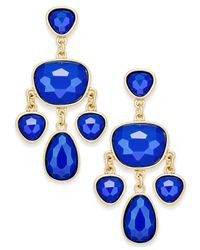 Charter Club | Blue Gold-tone Colored Stone Chandelier Earrings | Lyst