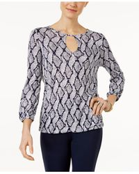Michael Kors | Blue Printed Keyhole Peasant Top | Lyst