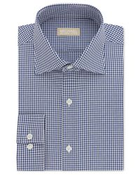 Michael Kors   Men's Classic/regular Fit Non-iron Blue Check Dress Shirt for Men   Lyst