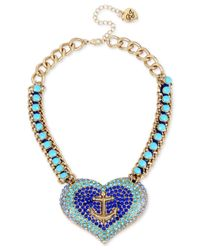 Betsey Johnson | Gold-tone Blue Crystal And Stone Anchor Heart Necklace | Lyst