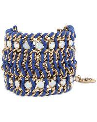 Betsey Johnson   Gold-tone Crystal Blue Cord Mesh Bracelet   Lyst