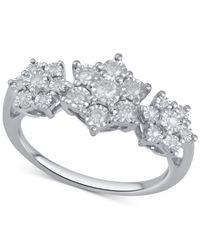 Macy's | Metallic Diamond Triple Cluster Ring (1/4 Ct. T.w.) In Sterling Silver | Lyst
