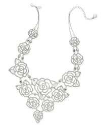 kate spade new york | Metallic Silver-tone Crystal Openwork Rose Statement Necklace | Lyst