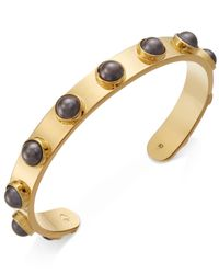 kate spade new york | Metallic Gold-tone Imitation Pearl Studded Cuff Bracelet | Lyst