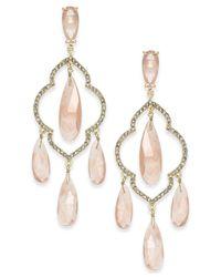 Kate Spade - Metallic Gold-tone Multi-stone Chandelier Earrings - Lyst