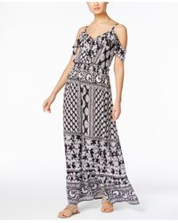 INC International Concepts Multicolor Printed Off-the-shoulder Maxi Dress