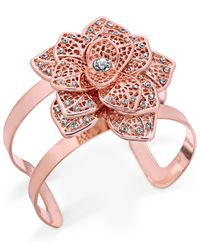 INC International Concepts | Multicolor Rose Gold-tone Crystal Flower Cuff Bracelet | Lyst