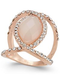 INC International Concepts | Multicolor Rose Gold-tone Pavé And Pink Stone Ring | Lyst