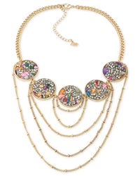ABS By Allen Schwartz | Metallic Gold-tone Stone And Crystal Statement Necklace | Lyst