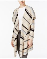 Kensie | Natural Striped Draped Cardigan | Lyst