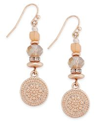 INC International Concepts | Metallic Rose Gold-tone Multi-bead Disc Drop Earrings | Lyst