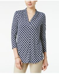 Charter Club - Blue Iconic-print Top - Lyst