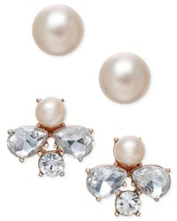 Charter Club | Multicolor Rose Gold-tone 2-pc. Set Crystal And Imitation Pearl Stud Earrings | Lyst