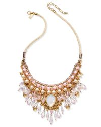 INC International Concepts - Metallic Gold-tone Imitation Pearl Multi-stone Statement Necklace - Lyst