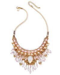 INC International Concepts | Metallic Gold-tone Imitation Pearl Multi-stone Statement Necklace | Lyst