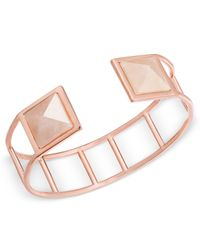 Vera Bradley | Rose Gold-tone Pink Stone Cuff Bracelet | Lyst