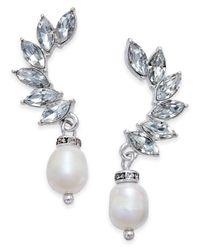 INC International Concepts   Metallic Silver-tone Crystal And Imitation Pearl Ear Climber Earrings   Lyst
