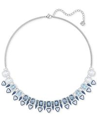 "Swarovski - Metallic Silver-tone Clear & Color Crystal Choker Necklace, 14-3/4"" + 2"" Extender - Lyst"