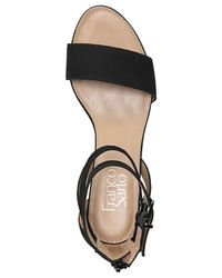 Franco Sarto | Black Danissa Leather Wedge Sandals | Lyst