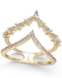 INC International Concepts | Metallic Gold-tone Crystal And Pavé Double V Ring | Lyst