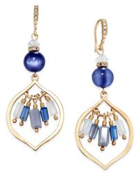 INC International Concepts | Gold-tone Blue Stone Drop Earrings | Lyst