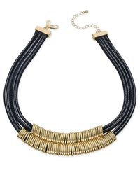 INC International Concepts | Gold-tone Black Braided Nylon Cord Double Row Necklace | Lyst