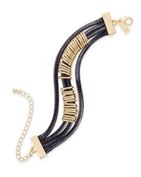 INC International Concepts - Gold-tone Black Braided Nylon Cord Bracelet - Lyst