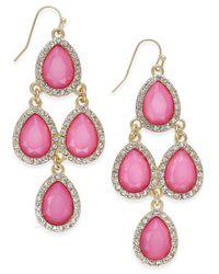 INC International Concepts   Pink Gold-tone Jet Black Teardrop Chandelier Earrings   Lyst