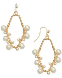 INC International Concepts - Metallic Gold-tone Imitation Pearl Wire Wrap Drop Earrings, - Lyst